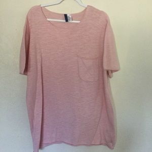 Divided H&M Pink Cotton Short Sleeve Tunic Top
